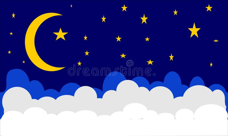 MON STAR CLOUD NIGHT AND DREAM. THE ILLUSTRATIONS OF NIGHT ALWAYS MAKE YOU CALMED. LOOK AT THE SJY CLOUD MOON AND STAR IS PERFECT TIME FOR REST YOUR SELF vector illustration