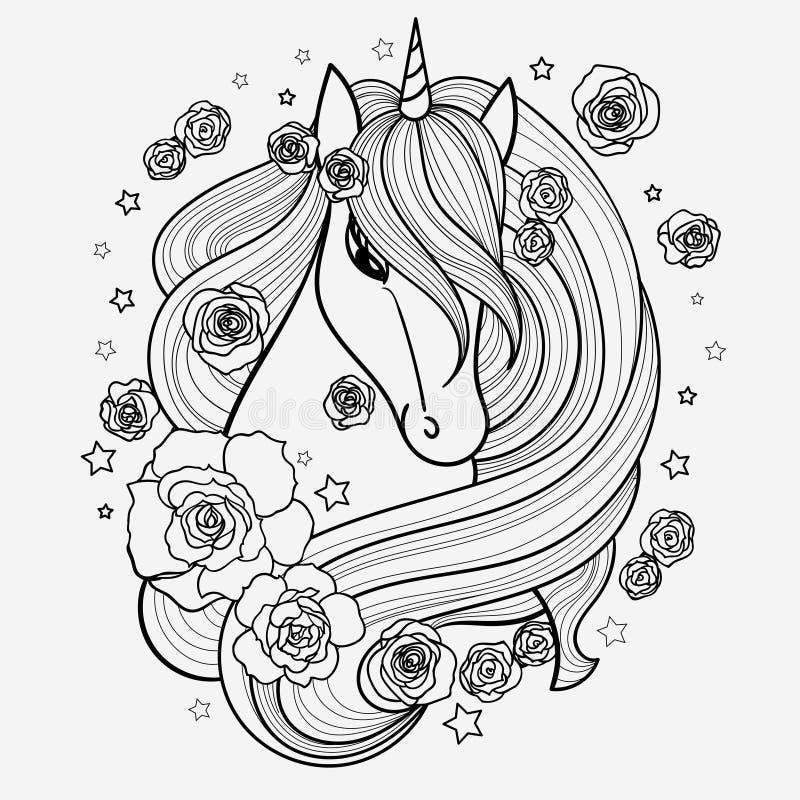 Illustrations noires et blanches de vecteur Licorne tirée par la main avec des fleurs illustration de vecteur