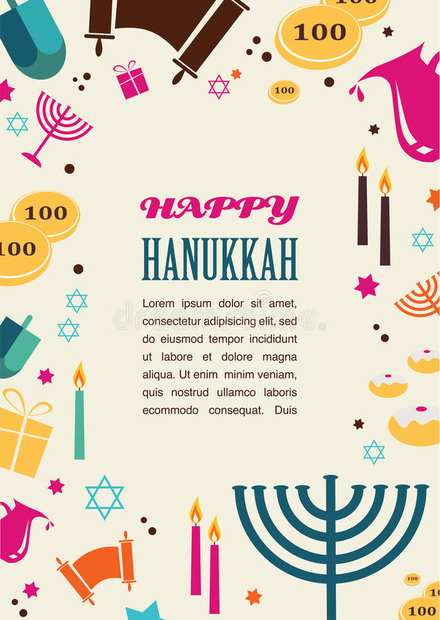 Free Illustrations Of Famous Symbols For The Jewish Holiday Hanukkah Royalty Free Stock Photography - 46931997