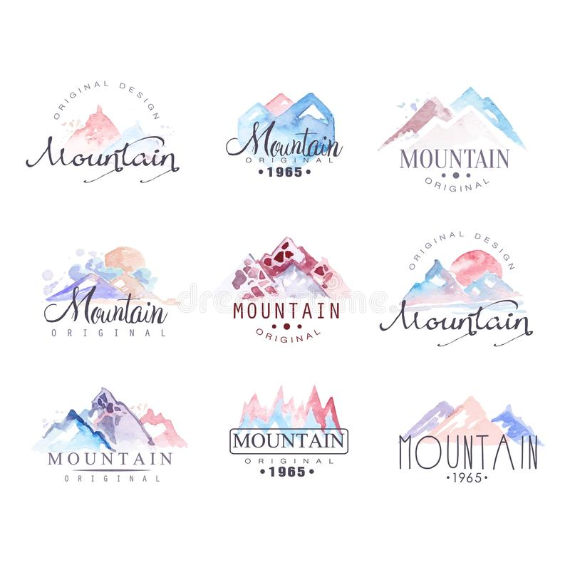 Illustrations originales de vecteur d'aquarelle de conception de logo de montagne réglées illustration libre de droits