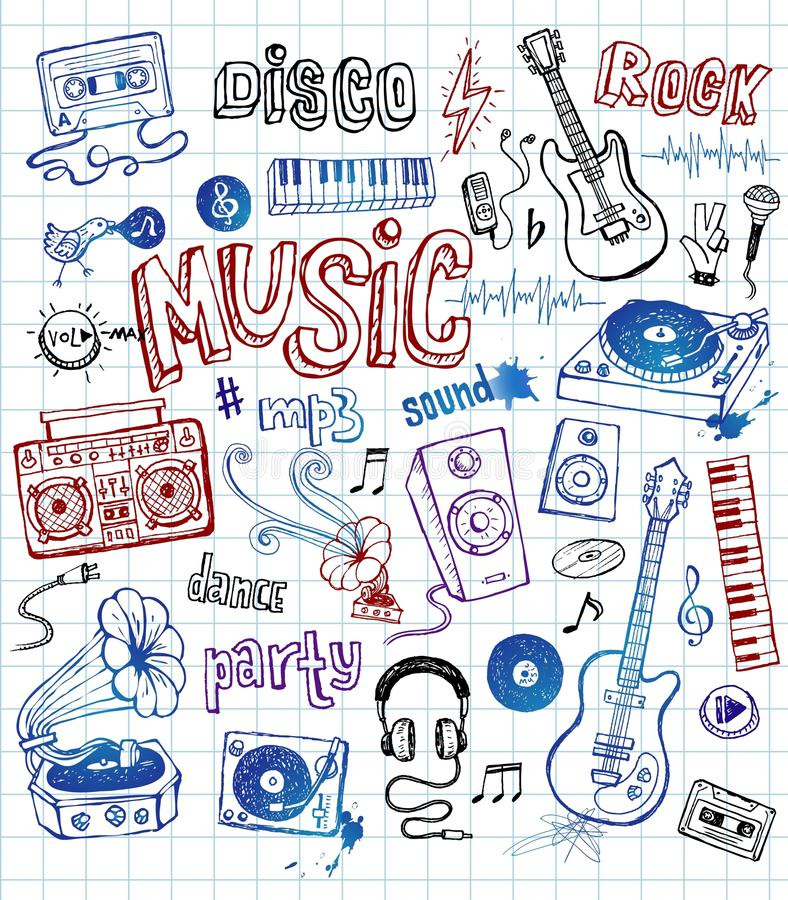 Illustrations peu précises de musique illustration stock