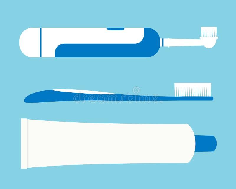 Illustrations plates réglées de conception de brosse à dents électrique et de tube de pâte dentifrice d'isolement sur le fon illustration libre de droits