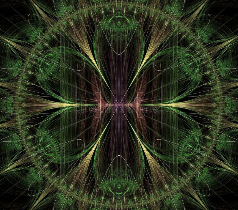 Illustrations  psychedelic fractal futuristic geometric colorful. Magic shape wave geometric print galaxy decorative kaleidoscope stock illustration