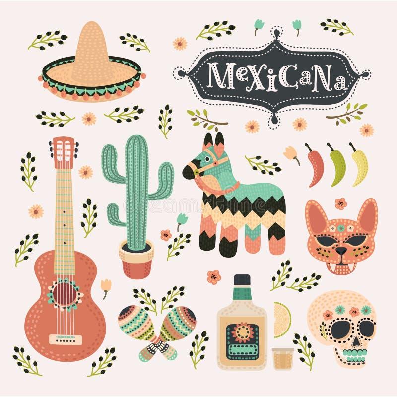 Illustrations réglées de bande dessinée de vecteur d'ensemble de Mexicain dans la couleur de vintage illustration libre de droits