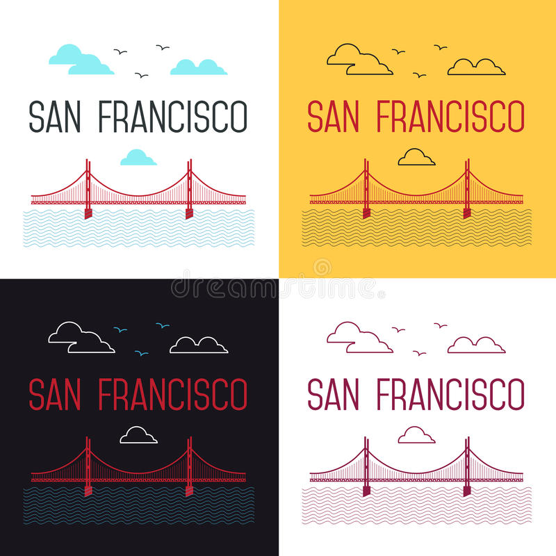 Illustrations réglées de San Francisco Golden Gate Bridge illustration stock