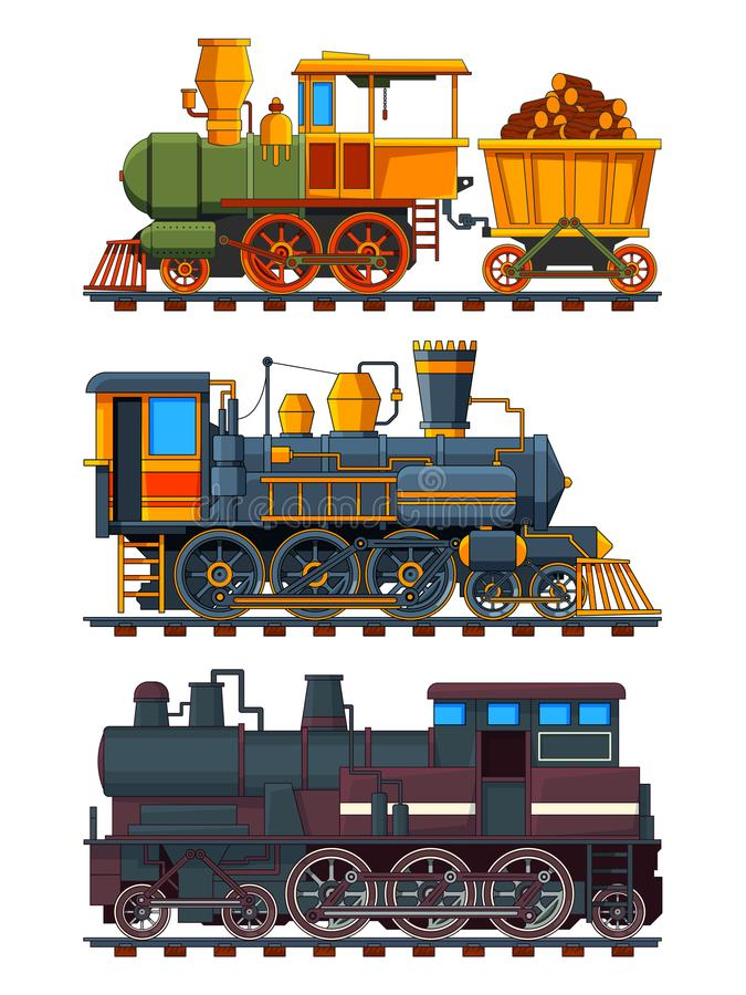 Illustrations of retro trains with wagons vector illustration