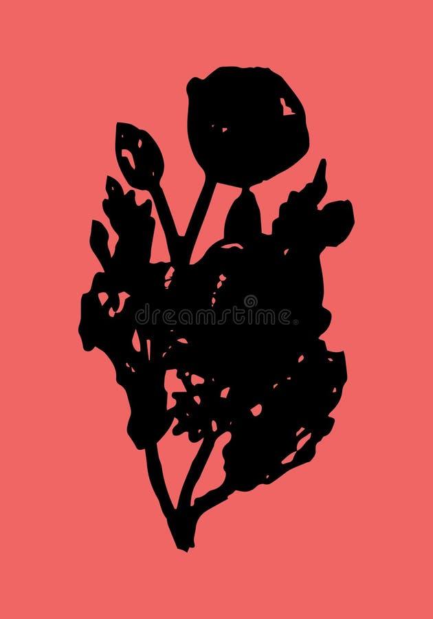 Illustrations-Saat-Mohn auf einem roten Hintergrund stock abbildung