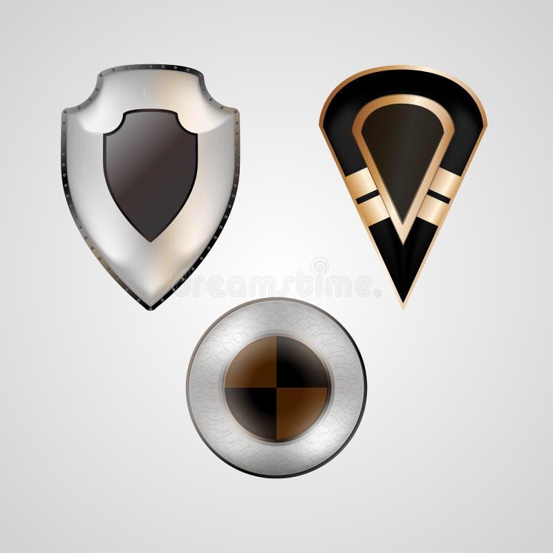 Illustrations of shields stock illustration