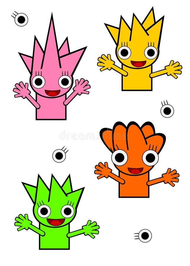 Illustrations simples de style de monstre mignon illustration libre de droits