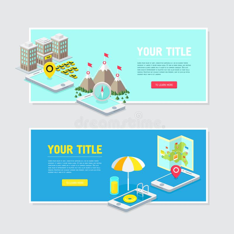 Illustrations for site hats and advertising. Mobile technology, illustrations for site hats and advertising vector illustration