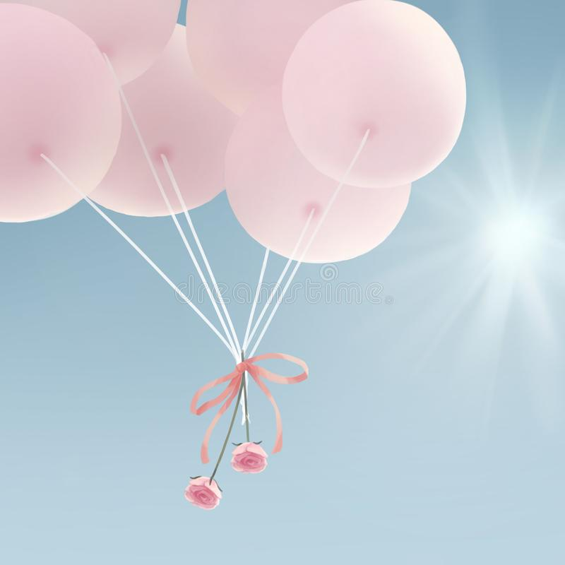 Pink Balloon In The Blue Sky vector illustration