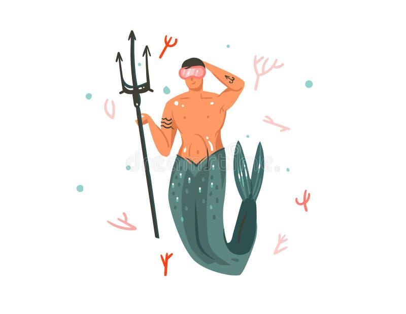 Illustrations sous-marines graphiques d'heure d'été vecteur de bande dessinée tirée par la main d'abrégé sur avec les récifs cora illustration libre de droits