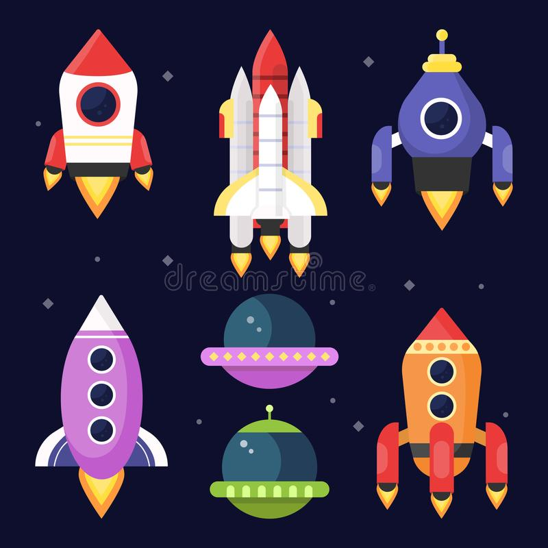 Illustrations of space with shuttles. Vector pictures stock illustration
