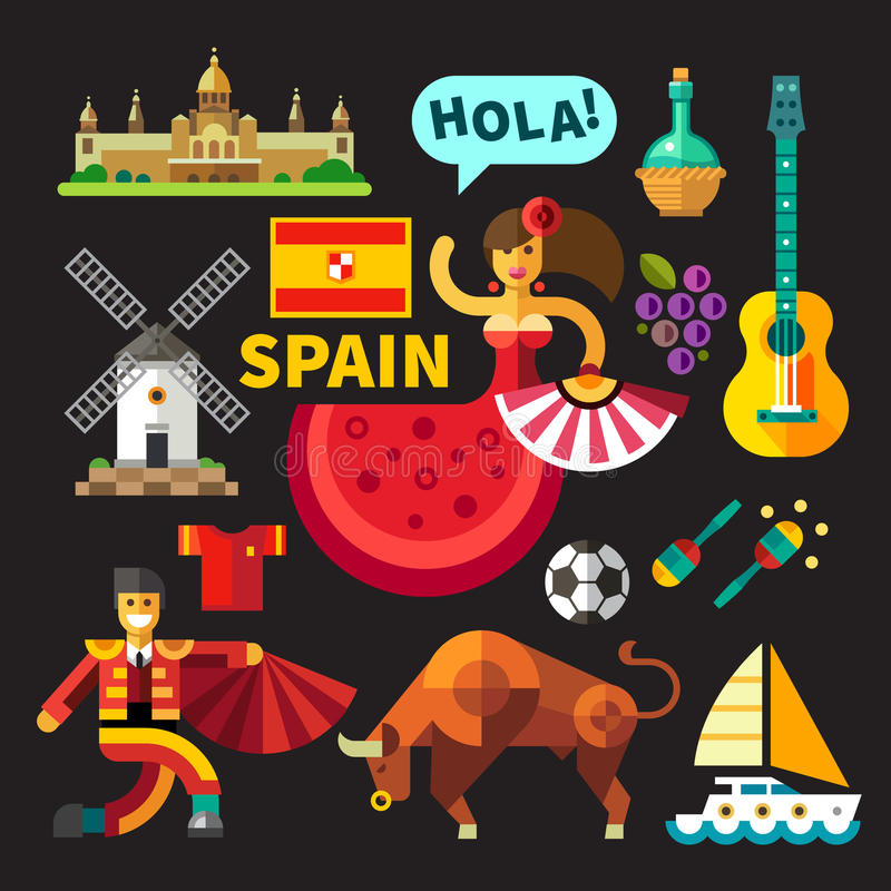 Illustrations of Spain. Color vector flat icon set, illustrations Spain stock illustration