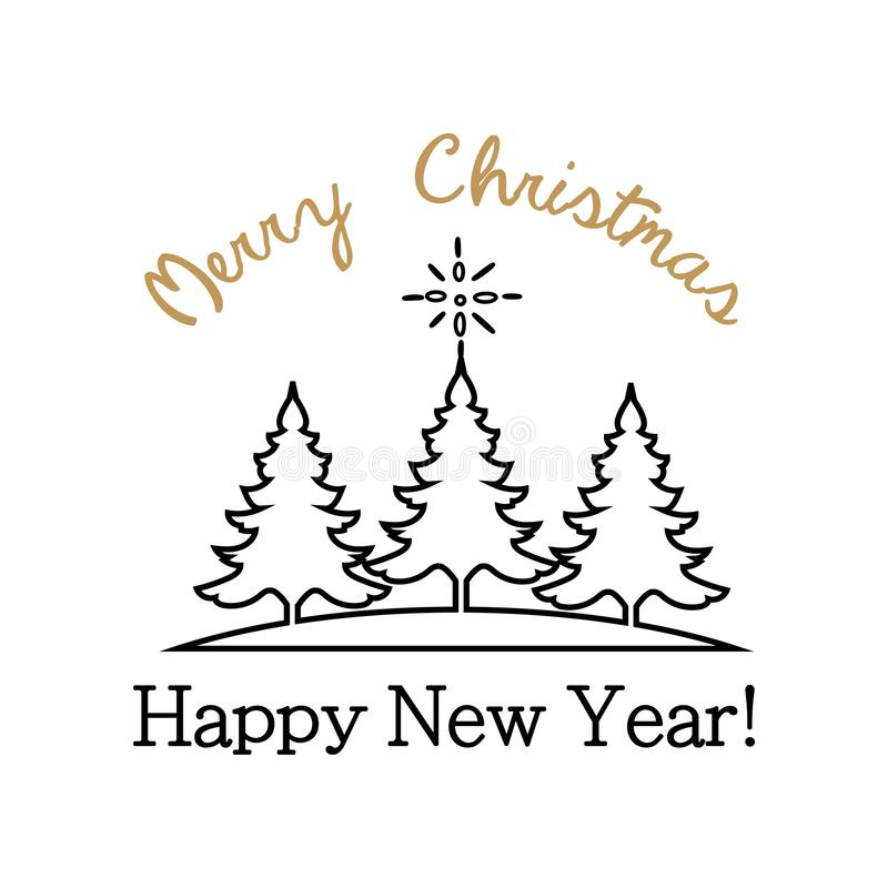 Illustrations of sticker with the text of congratulations with a happy New Year Merry Christmas. royalty free illustration