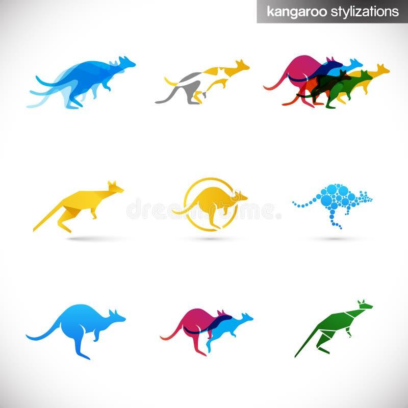 Illustrations stylisées de kangourou illustration de vecteur