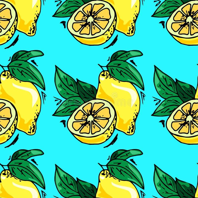 illustrations tirées par la main Carte avec des fruits, citrons Configuration sans joint illustration libre de droits