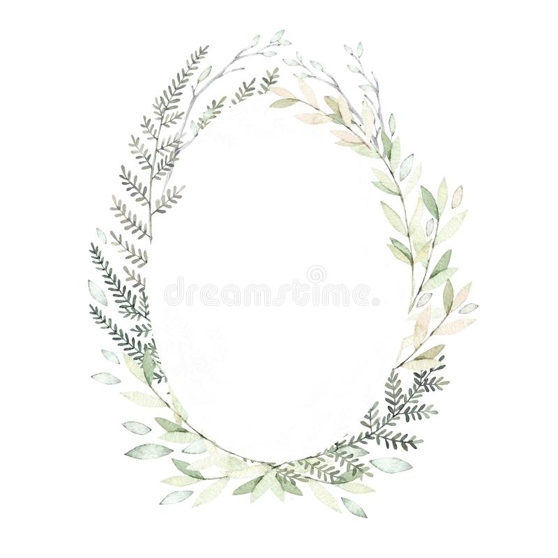 Illustrations tirées par la main d'aquarelle Ressort Laurel Wreath avec b illustration stock