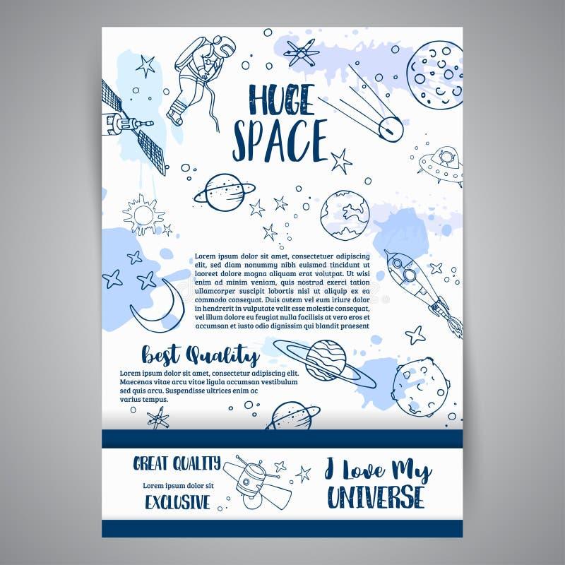 Illustrations tirées par la main de carte énorme de l'espace d'astronomie Dessins de planètes et de bateaux Croquis de cosmos de  illustration de vecteur