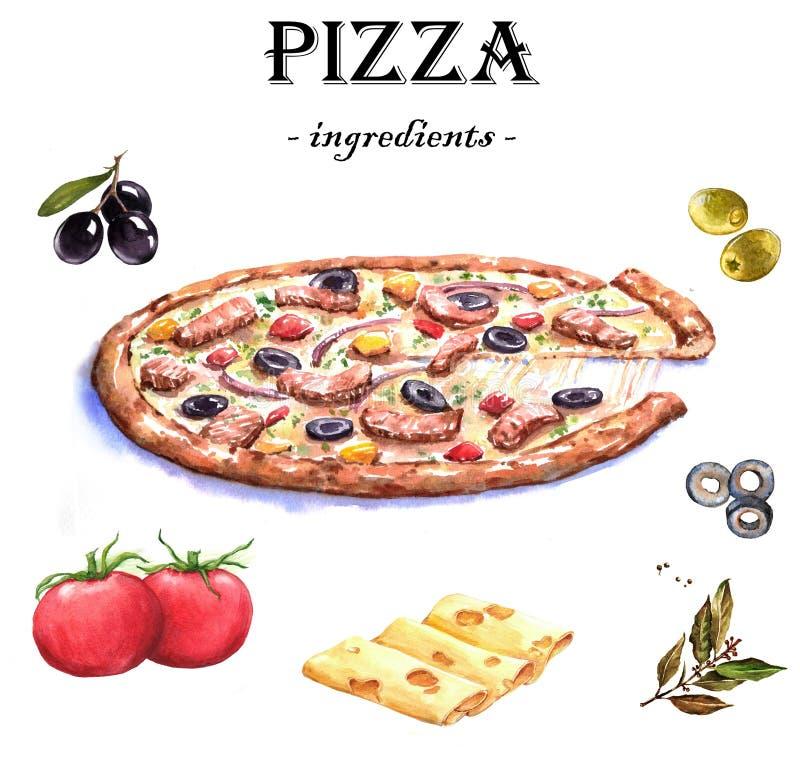Illustrations tirées par la main de nourriture d'aquarelle illustration stock