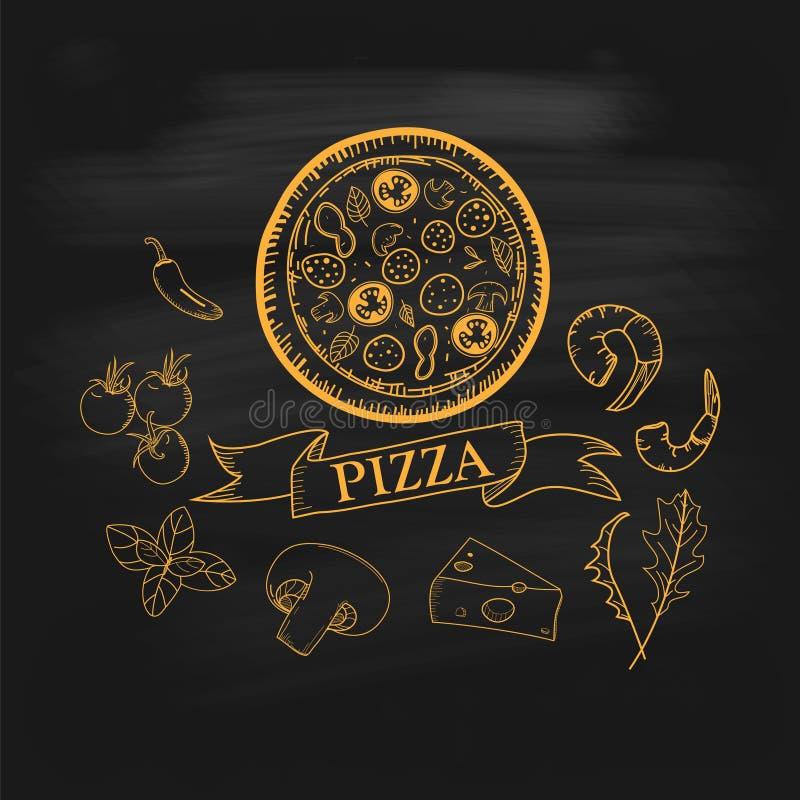 Illustrations tirées par la main de pizza illustration de vecteur