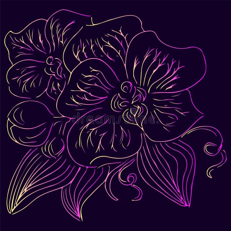 Illustrations tir?es par la main de vecteur de fleur abstraite d'orchid?e avec les couleurs violettes, jaunes et roses Croquis ti photo libre de droits