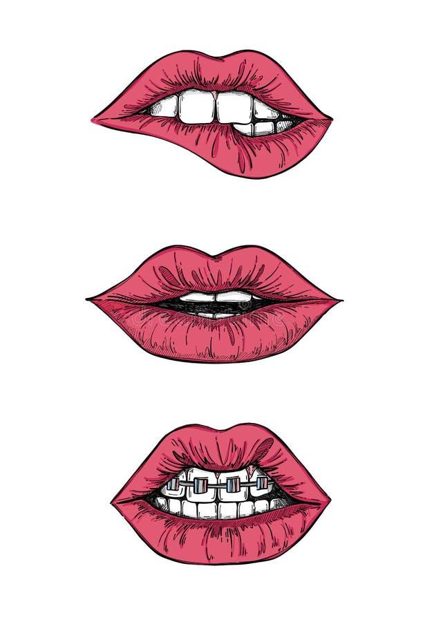 Illustrations tirées par la main de vecteur - lèvres douces Bouche avec des dents illustration libre de droits