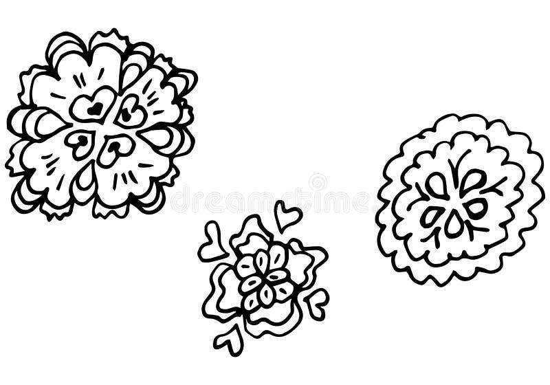 Illustrations tirées par la main gravées de vecteur réglées de trois fleurs abstraites d'isolement sur le blanc Croquis tiré par  illustration de vecteur