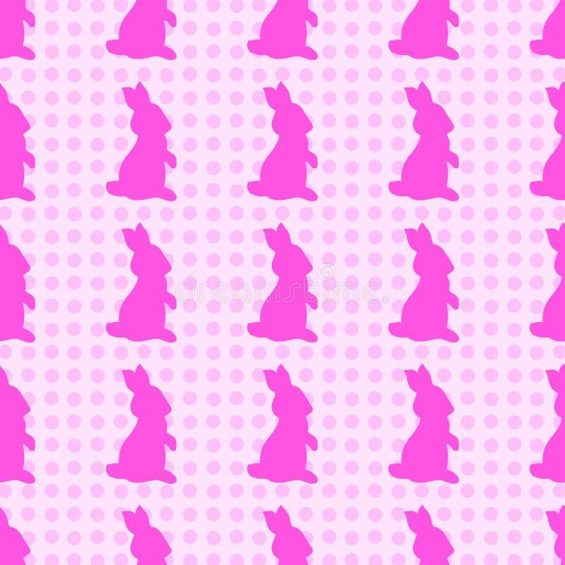 illustrations tirées par la main Lapin rose sur un fond de point de polka Configuration sans joint illustration libre de droits