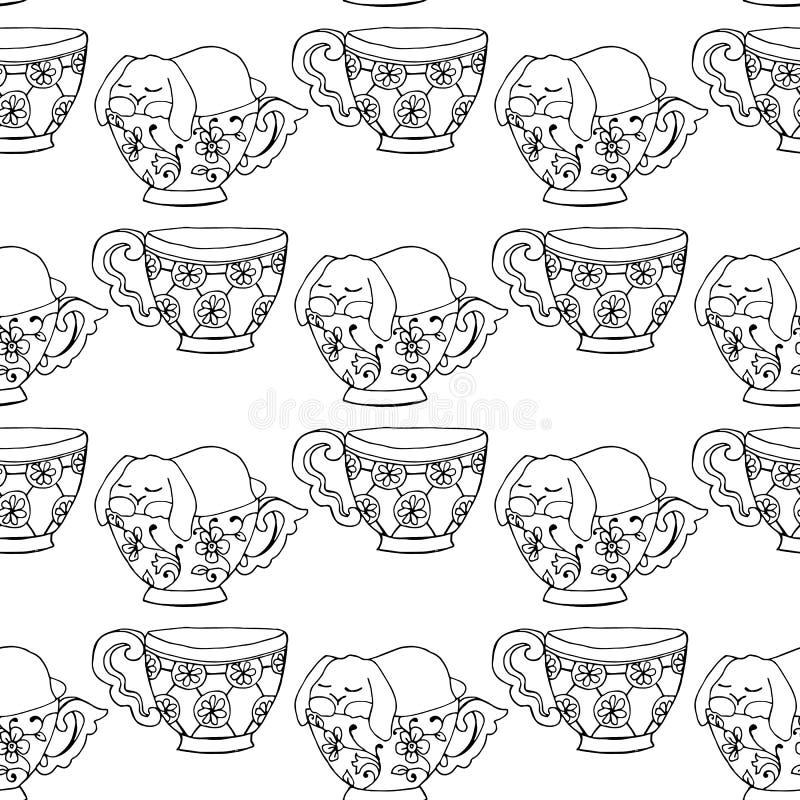 illustrations tirées par la main Tasses de thé noires et blanches Drôle mignon de carte postale est tombé endormi dans une tasse  illustration libre de droits