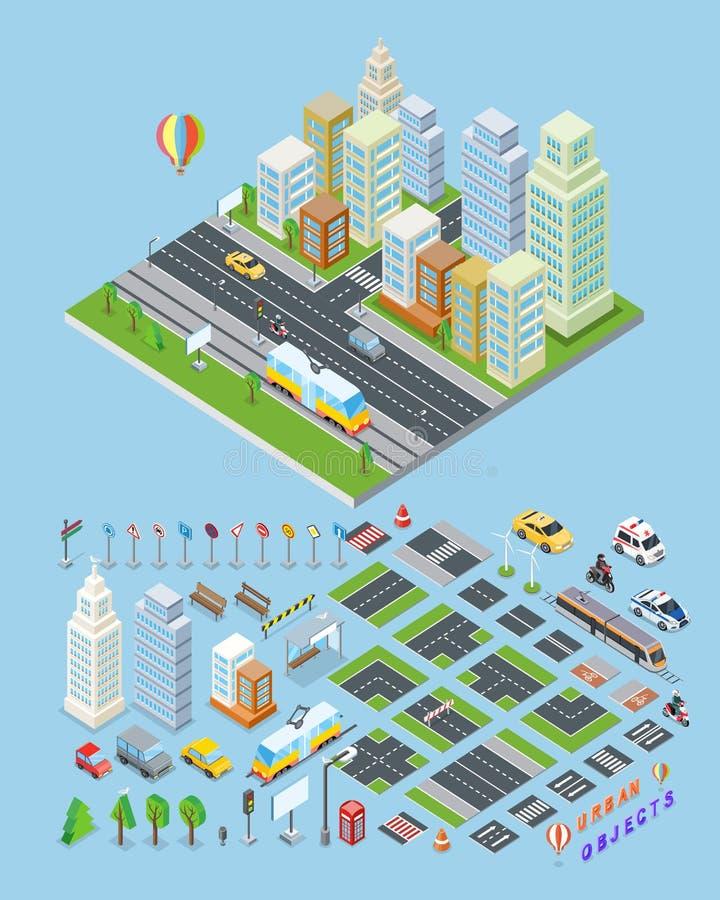 Illustrations urbaines d'objets de paysage de ville illustration stock