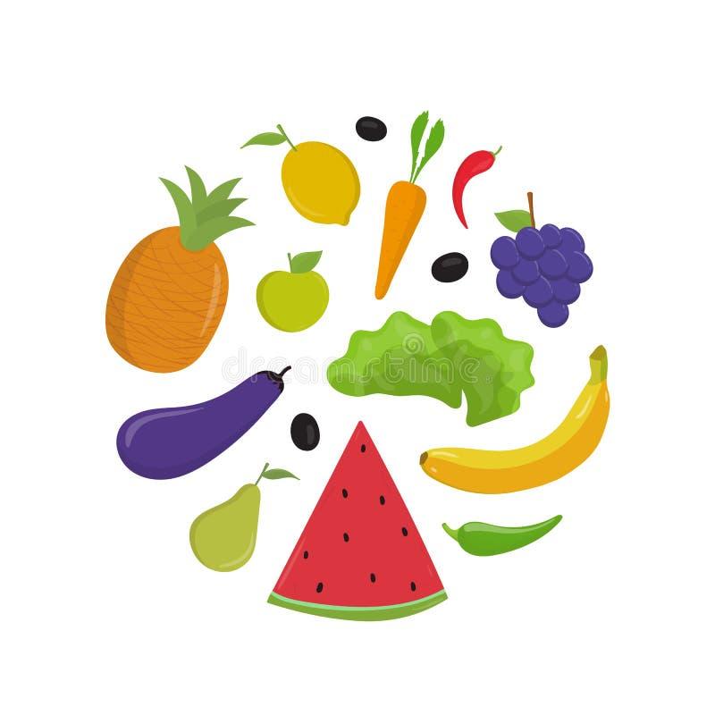 Illustrations vectorielles plates de fruits et légumes Banane et pomme entières brutes, tranche de pastèque Herbe mûre, carotte illustration libre de droits