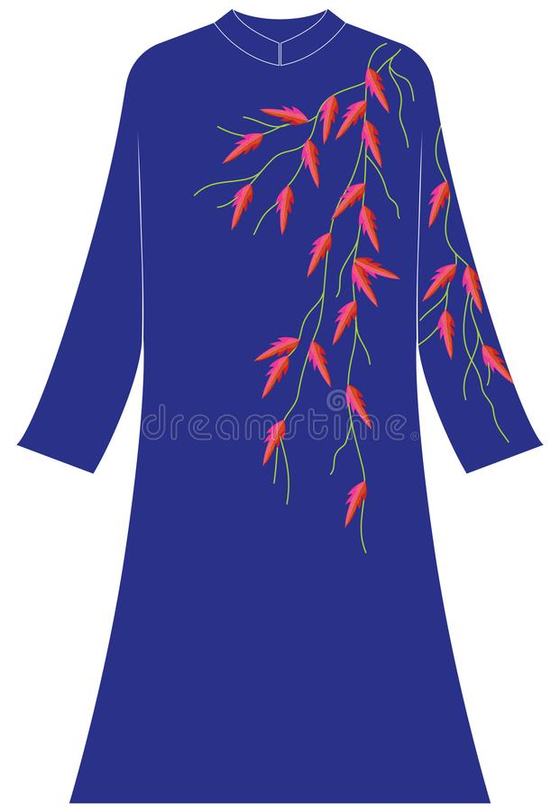 Women`s clothing: Twigs with serrated leaves. Illustrations of women`s clothing, embroidery designs, series of twigs with serrated leaves and stripes; green stock illustration