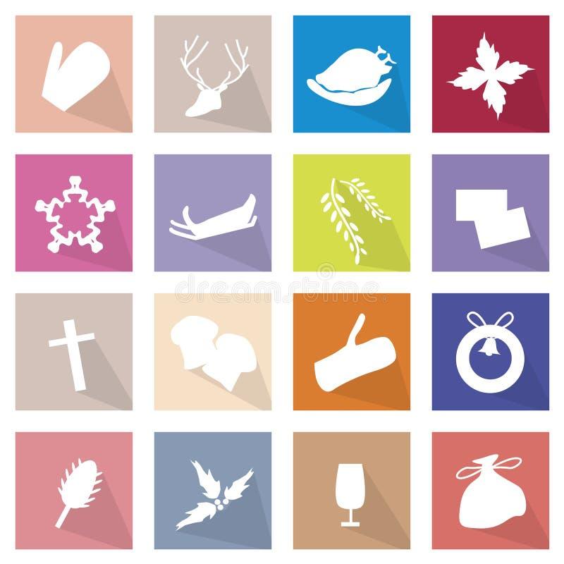 Illustrationsamling av 16 symboler för glad jul stock illustrationer