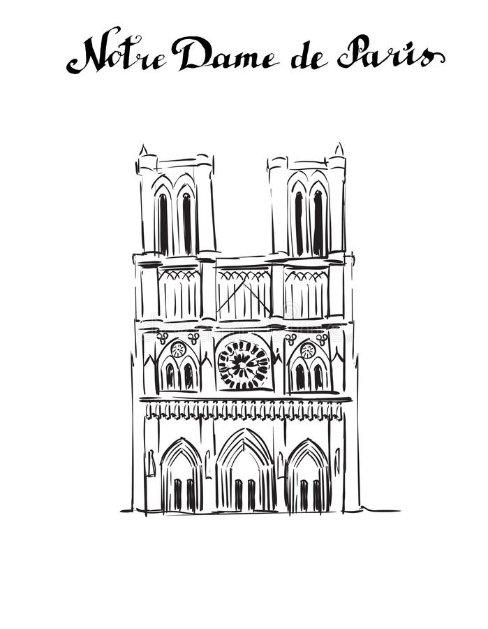 Illustrationsaquarell-Luftmonument Notre Dame de Paris stock abbildung