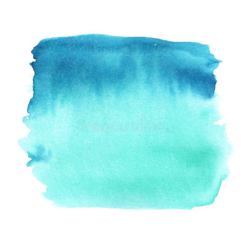 Illustrationsaquarellsteigung von Smaragd zu Blau auf einem weißen Hintergrund, fließenden Übergang stock abbildung