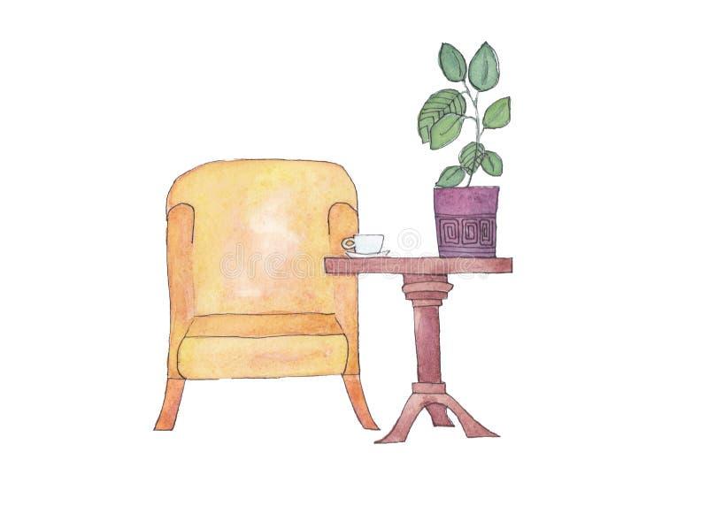 Illustrationscouchtisch und -stuhl lizenzfreie abbildung