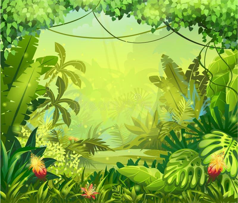 Illustrationsdschungel mit roten Blumen stock abbildung