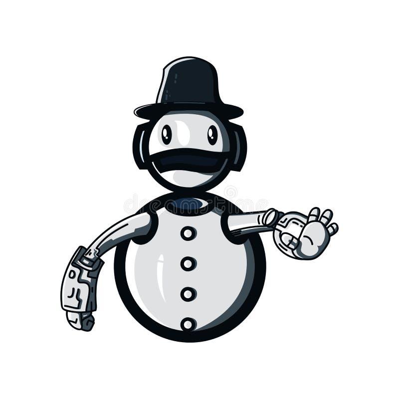 Illustrationsentwurf des Schneemannroboters stock abbildung