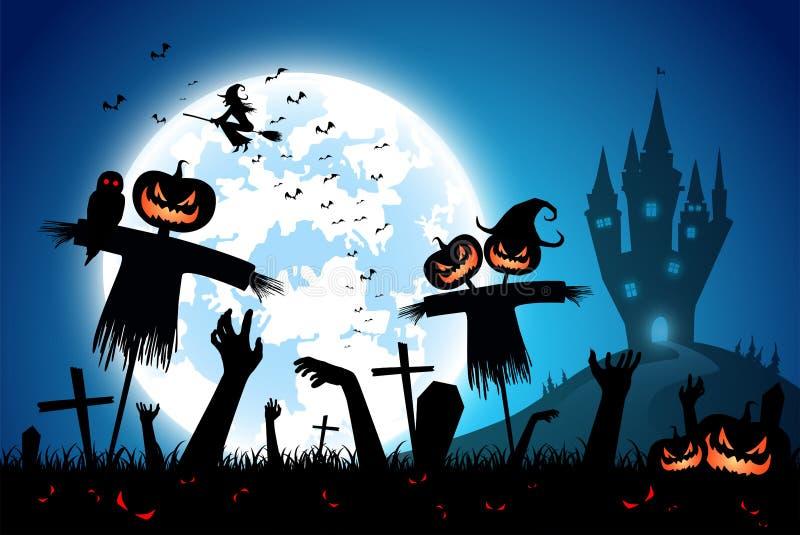 Illustrationshalloween-Festivalhintergrund, Vollmond auf dunkler Nacht mit der Zombiehand oben vom Grab und Vogelscheuche lizenzfreie abbildung