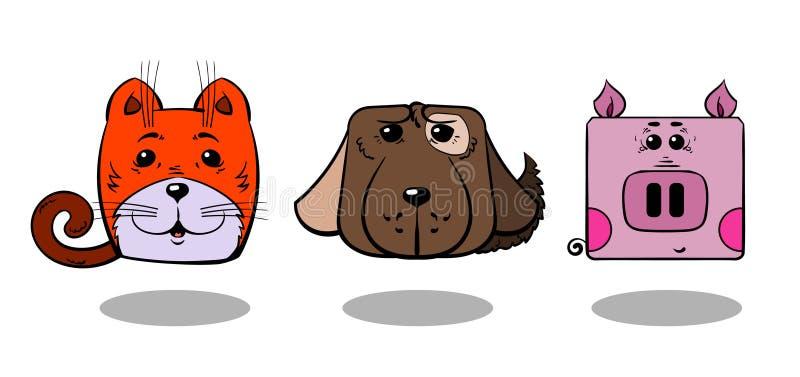 Illustrationshaustiere Katze, Hund, Schwein stockfotografie