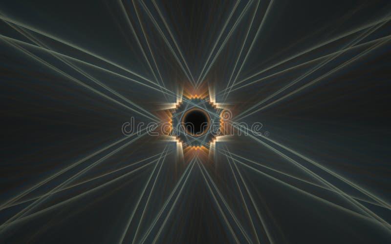 IllustrationsHintergrund eines abstrakten Charakters mit einem schwarzen mittel-orange Muster herum und der grauen Strahlen auf e vektor abbildung