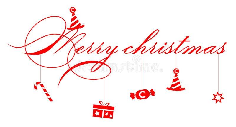 Illustrationshintergrund, Text mit Schattenbildgeschenk und Süßigkeit für dekorative frohe Weihnachten und Feier vektor abbildung