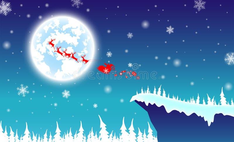 Illustrationshintergrund, Textschattenbild Weihnachtsmann mit Ren stock abbildung