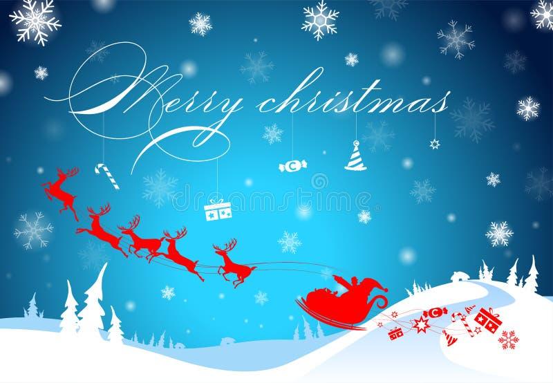 Illustrationshintergrund, Textschattenbild Weihnachtsmann mit Ren, Süßigkeit und Geschenk für dekorative frohe Weihnachten und Fe lizenzfreie abbildung