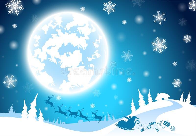 Illustrationshintergrund, Textschattenbild Weihnachtsmann mit Ren, Süßigkeit und Geschenk für dekorative frohe Weihnachten und Fe vektor abbildung