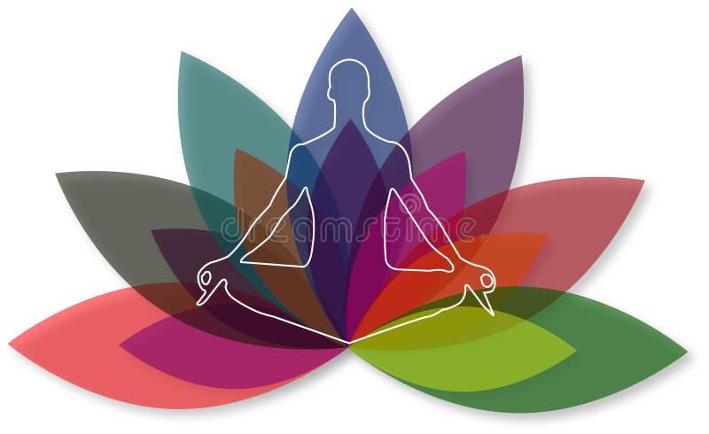 Illustrationskunst des Yogazenlogos mit Hintergrund lizenzfreie abbildung