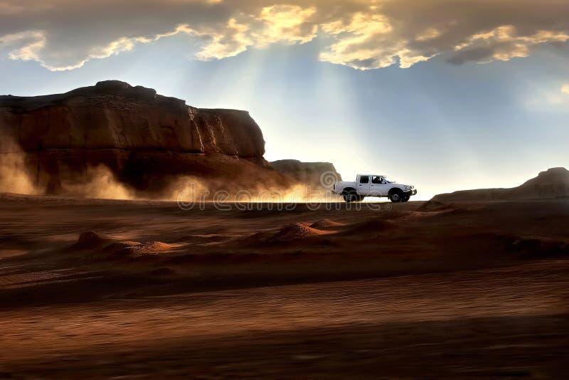illustrationsolnedgång för öken 3d Härliga strålar av ljus och moln iran Kerman Dasht-e Lut Desert royaltyfri fotografi