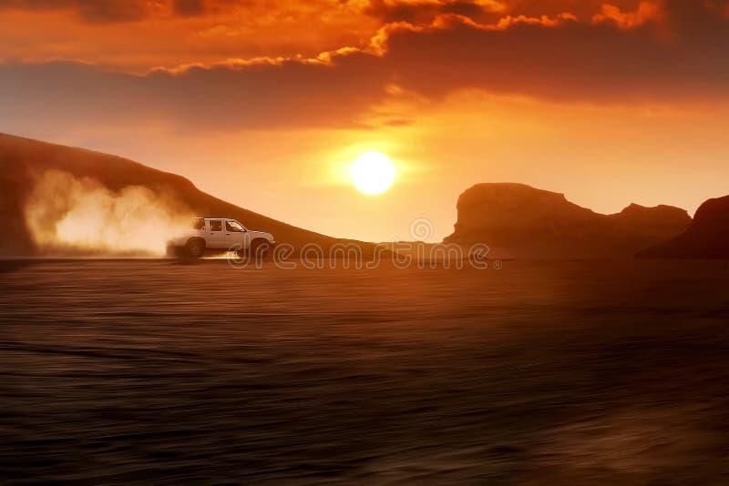 illustrationsolnedgång för öken 3d iran Kerman Dasht-e Lut Desert royaltyfria foton