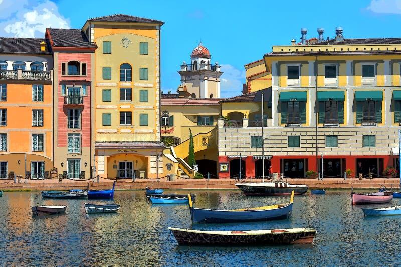 Illustrationsphotographie, bunter Italiener Portofino mit Fischerbooten in der blauen Bucht lizenzfreie stockbilder